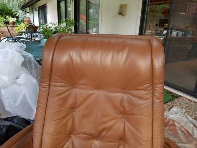 Skin Oils Contamination With Staining To Unfinished Leather Headrest Restored (after)