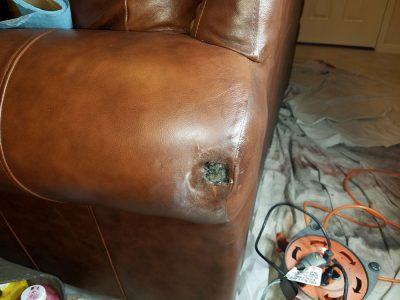 Dog Damage To Armrest (before)